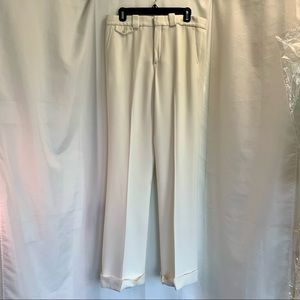 Chloe white lined wide leg rolled cuff trousers 40